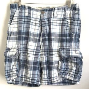 Abercrombie & Fitch Plaid Cargo Shorts 34 Blue